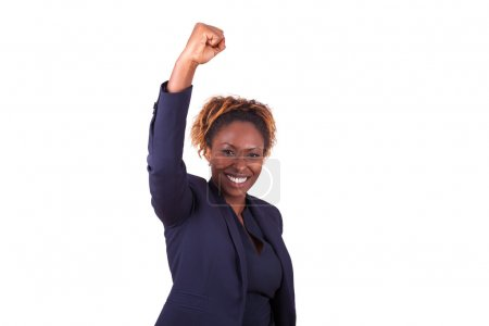 African American business woman with clenched fist