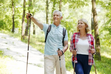 Photo for Portrait of senior couple enjoying a nordic walk. Active elderly woman and man walking in the forest and smiling. - Royalty Free Image