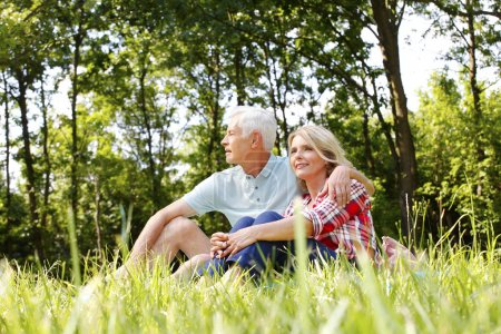 Photo for Portrait of happy senior couple in the nature. Senior man hugging mature woman while sitting in the grass and relaxing. - Royalty Free Image