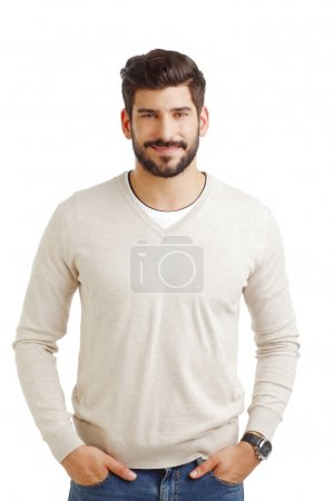 Photo for Portrait of casual young businessman standing against white background. - Royalty Free Image