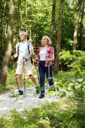 Photo for Full length portrait of active senior couple enjoying a nordic walk in the forest while old man and elderly woman talking with each other. - Royalty Free Image