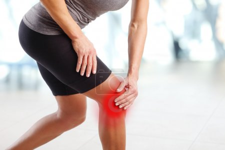 Injured knee after fitness workout