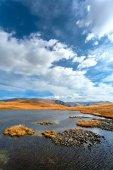 lake, mountains, steppe