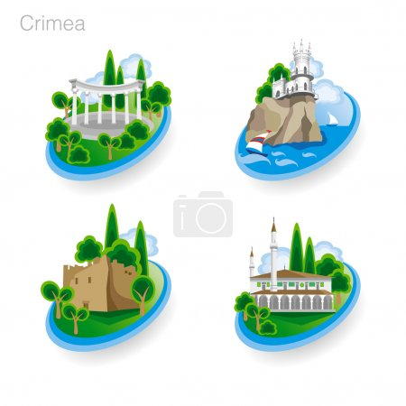 Landmarks of Crimea. Set of color icons. Vector illustration