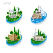 Landmarks of Crimea Set of color icons Vector illustration