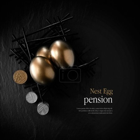 Photo pour Creatively lit stylish concept image for pension nest egg or investment. Golden eggs placed in a starkly constructed birds nest with stacked coins against black slate. Copy space. - image libre de droit
