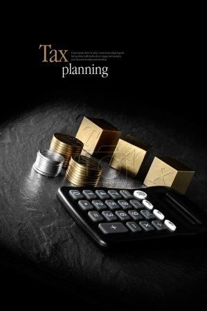 Photo pour Concept image for tax management and tax return. Creatively lit calculator and gold blocks and coins against a black background. Copy space. - image libre de droit