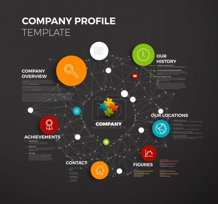 Illustration for Vector Company infographic overview design template with network in the background - dark version - Royalty Free Image