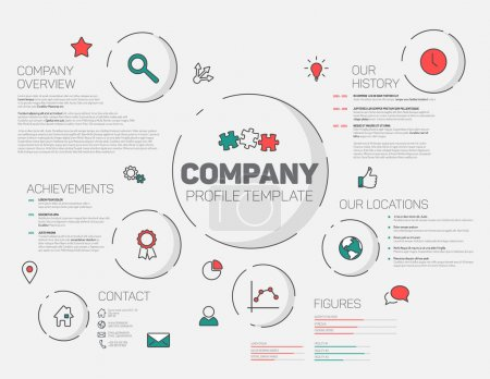 Illustration for Vector Company infographic profile design template with modern hipster thin line icons (red and teal - Royalty Free Image