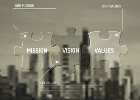 Illustration for Vector Mission, vision and values diagram schema made from puzzle pieces on the city background - Royalty Free Image