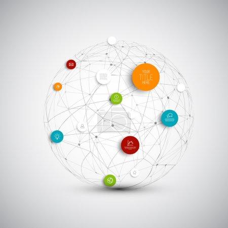 Illustration pour Illustration vectorielle de cercles abstraits, modèle de réseau infographique avec place pour votre contenu - version sombre - image libre de droit