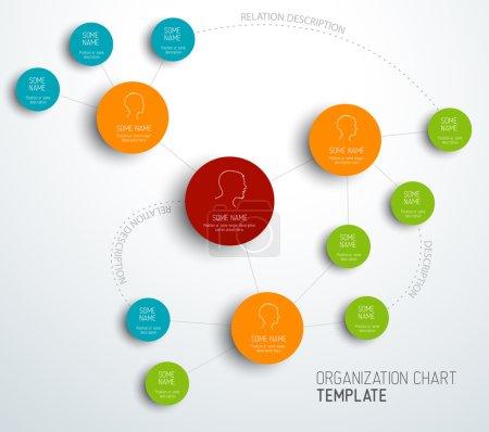 Illustration pour Modèle d'organigramme vectoriel moderne et simple avec profils - image libre de droit