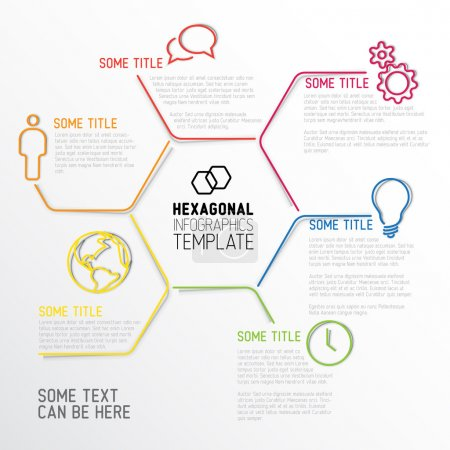 Illustration for Vector Infographic report template made from lines and hexagons with fine shadows - Royalty Free Image