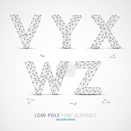 Illustration for Wire Vector low poly alphabet font with shadow - Royalty Free Image