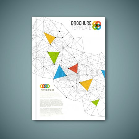 Illustration for Modern Vector abstract brochure, book, flyer design template with triangles - Royalty Free Image