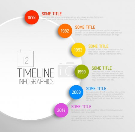 Illustration for Vector Infographic timeline report template with icons - Royalty Free Image