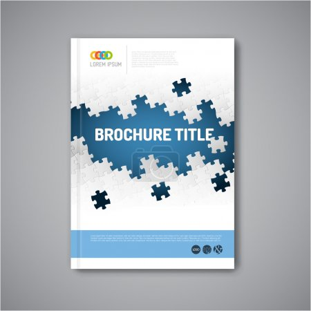 Abstract brochure design template with puzzle
