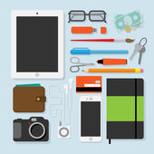Flat design style modern vector illustration of every day accessories things tools devices