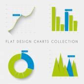 Flat design statistics charts and graphs