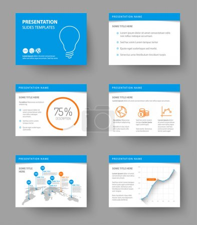 Illustration for Vector Template for presentation slides with graphs and charts - blue and orange version - Royalty Free Image