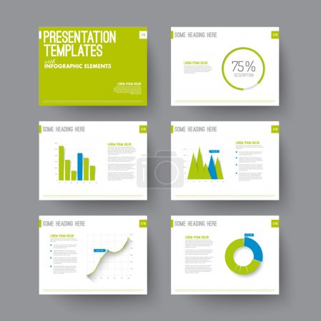 Presentation slides with infographic elements