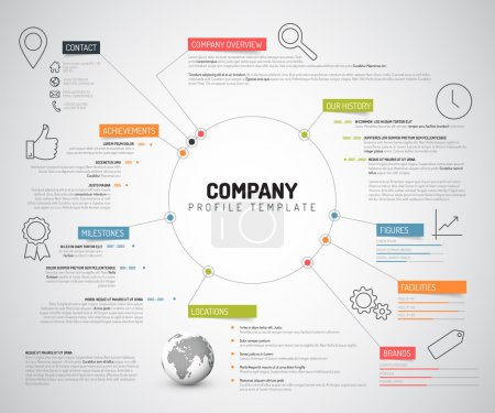 Illustration for Vector Company infographic overview design template with colorful labels and icons - Royalty Free Image