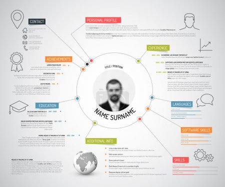 Illustration for Vector original minimalist cv resume template - creative version with colorful headings and icons - Royalty Free Image