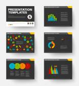 Minimalistic flat design Vector Template for presentation slides part 5 dark version