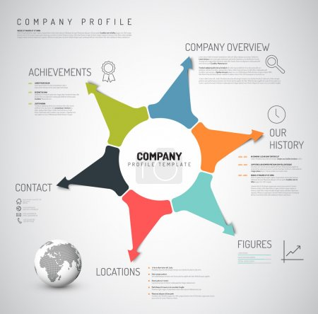 Illustration for Vector Company infographic overview design template with colorful arrows and icons - Royalty Free Image