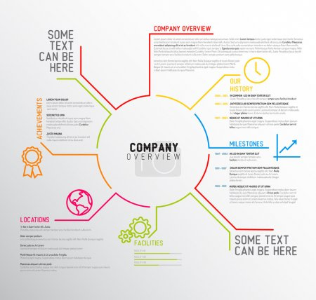Illustration for Vector Company infographic overview design template with thin line icons - Royalty Free Image