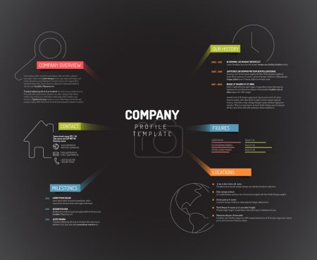 Illustration for Vector Company infographic overview design template with colorful labels - dark version - Royalty Free Image