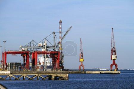 Lisbon's commercial port cargo cranes
