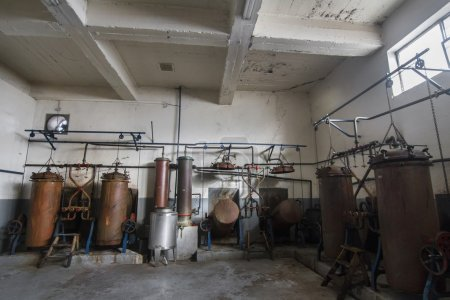 Old distillation tanks for aguardiente (alcoholic beverage)