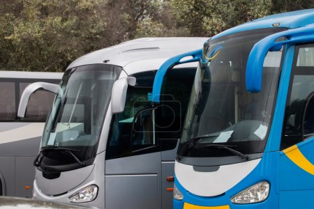 parked tour buses in Lisbon