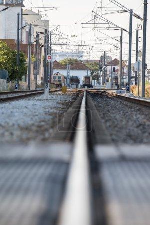 train tracks on the city of Faro