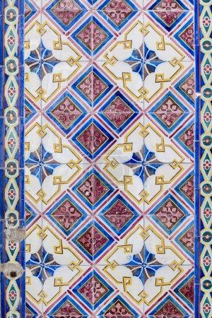 Photo pour Vue de la texture d'un modèle de carreaux portugais azulejos en céramique. - image libre de droit