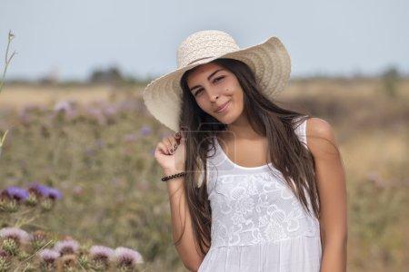 beautiful woman on a white dress