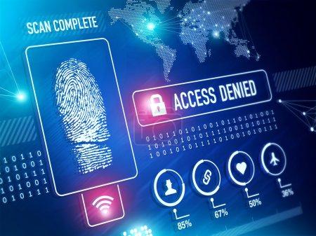 Photo pour Technologie de sécurité et vérification de l'identité avec le concept de numérisation d'empreintes digitales - image libre de droit