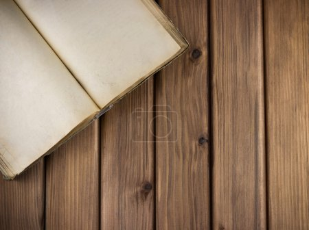 Photo for Top view of blank open old book with grange pages on wooden table - Royalty Free Image