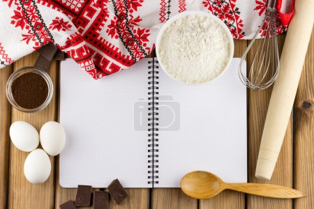 blank notebook with food