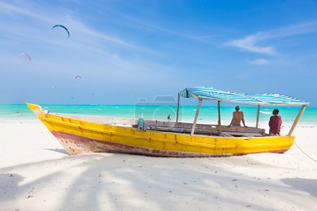 White tropical sandy beach on Zanzibar.