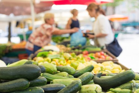 Farmers food market stall with variety of organic vegetable.