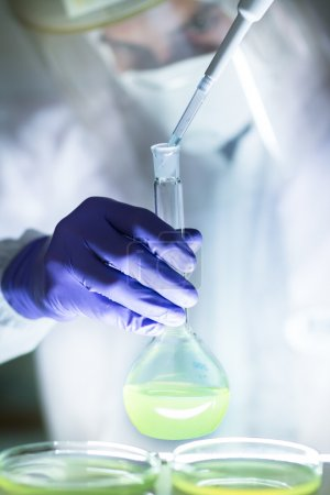 Working in the laboratory with a high degree of protection.