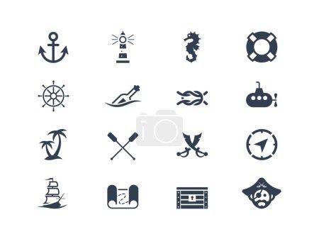 Illustration for Marine and nautical icons set - Royalty Free Image