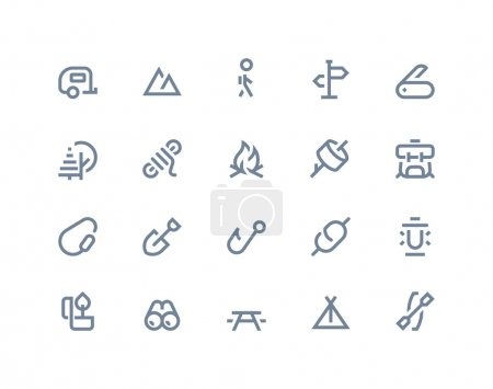 Camping icons. Line series
