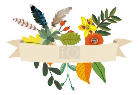 Herbarium made of flowers, leaves and feather and banner
