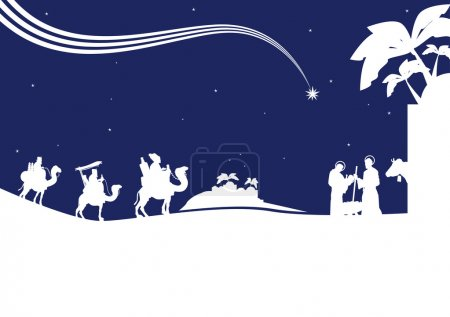 Nativity scene with the three wise men and the chi...