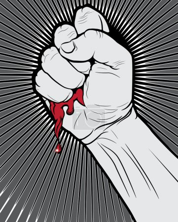 Bloody Clenched Fist on Abstract Background