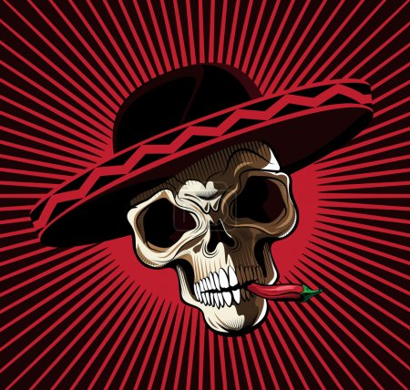 Skull in Mexican Hat Biting Red Chili