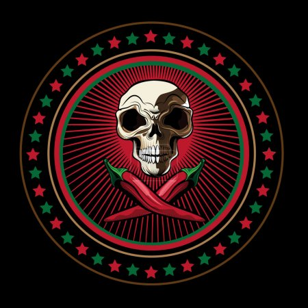Round Logo with Skull and Red Chili